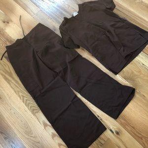 Dark brown medical scrubs